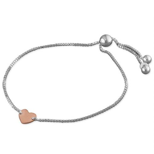 Silver & rose gold heart slider bracelet